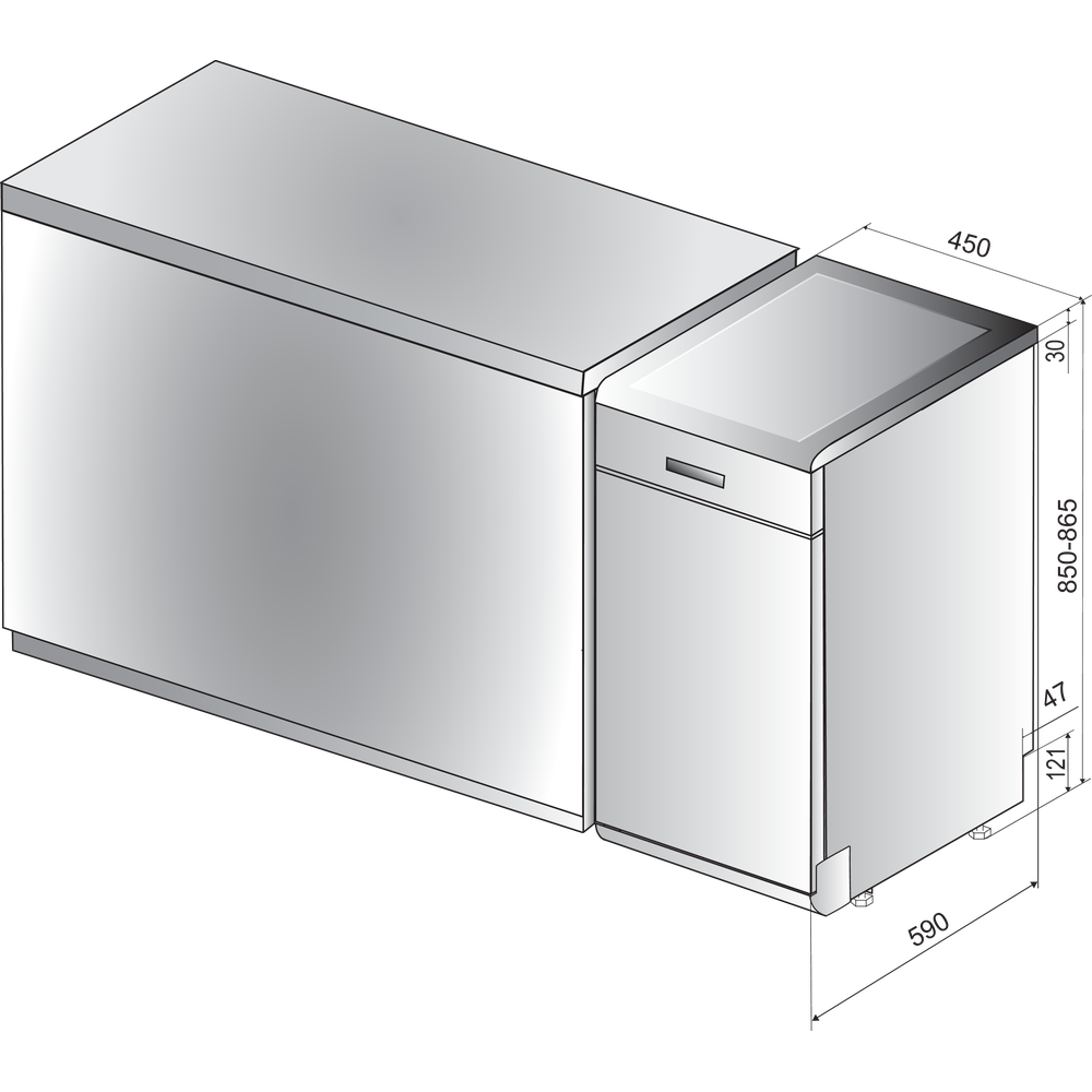 Indesit Посудомийна машина Соло DSCFE 1B10 S RU Соло A+ Technical drawing