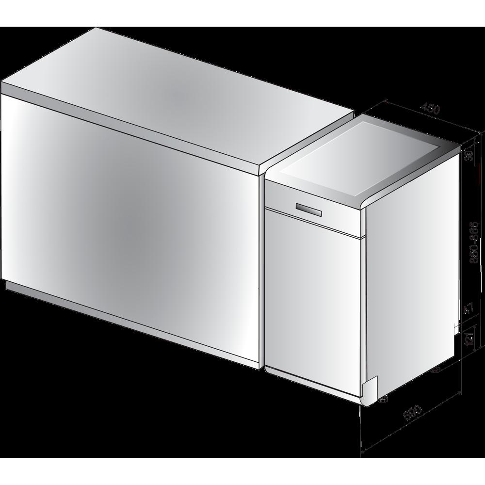 Indesit Myčka nádobí Volně stojící DSFE 1B10 S Volně stojící A+ Technical drawing