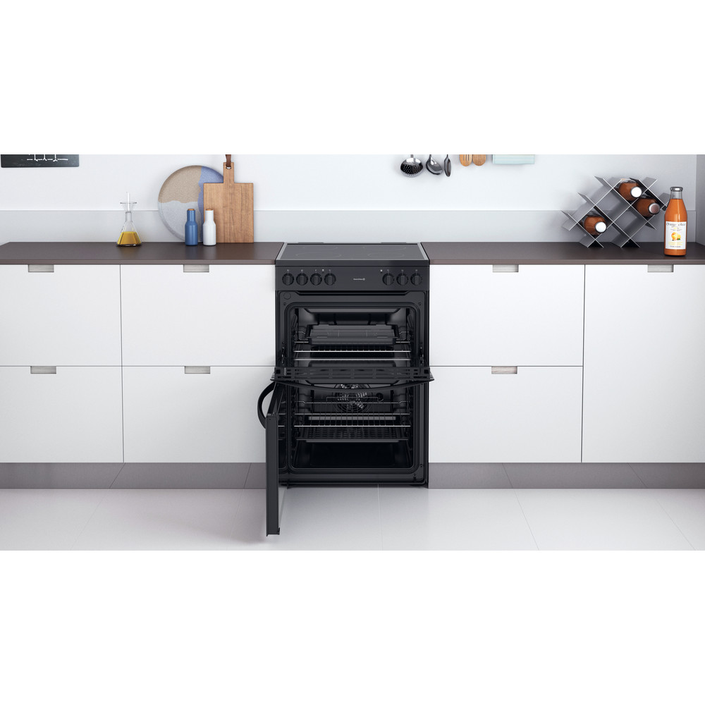 Indesit Double Cooker ID67V9KMB/UK Black B Lifestyle frontal open