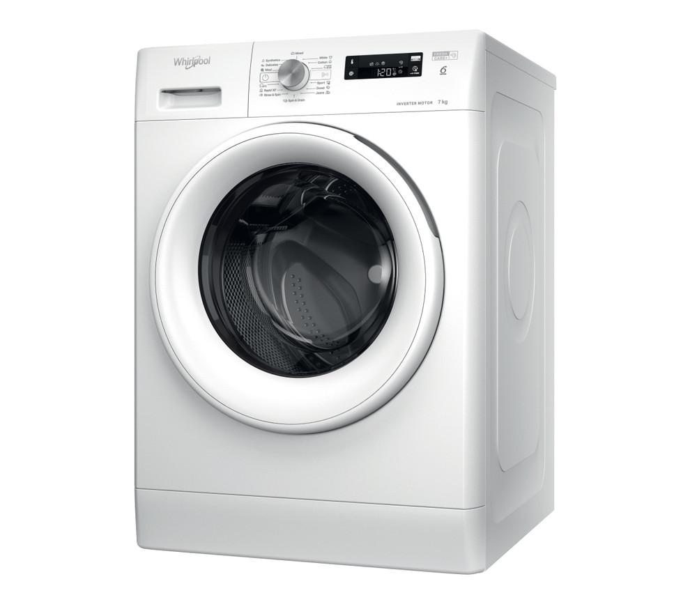 Whirlpool Maşină de spălat rufe De sine statator FFS 7238 W EE Alb Încărcare frontală D Perspective