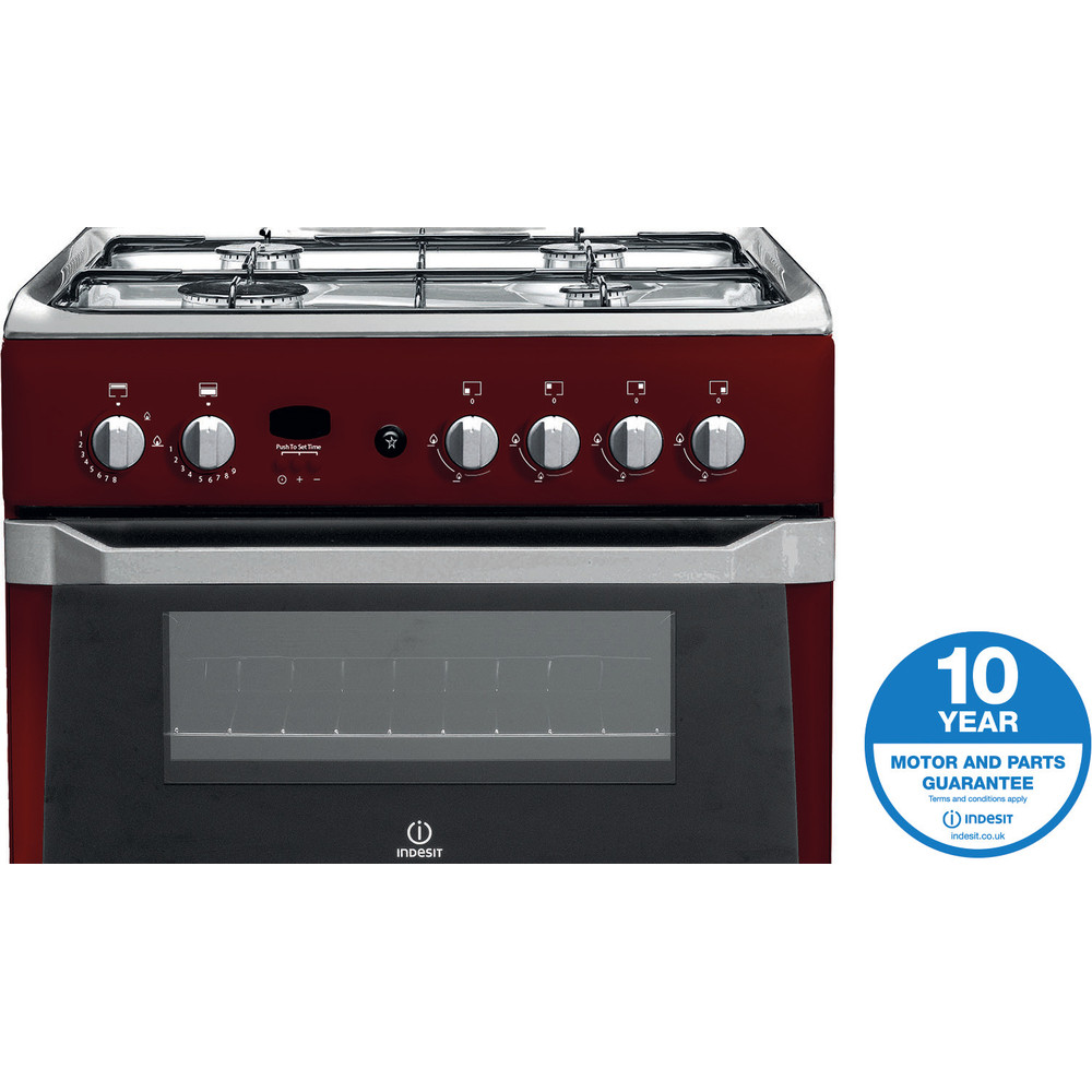 Indesit Double Cooker ID60G2(R)/UK Red A+ Enamelled Sheetmetal Award