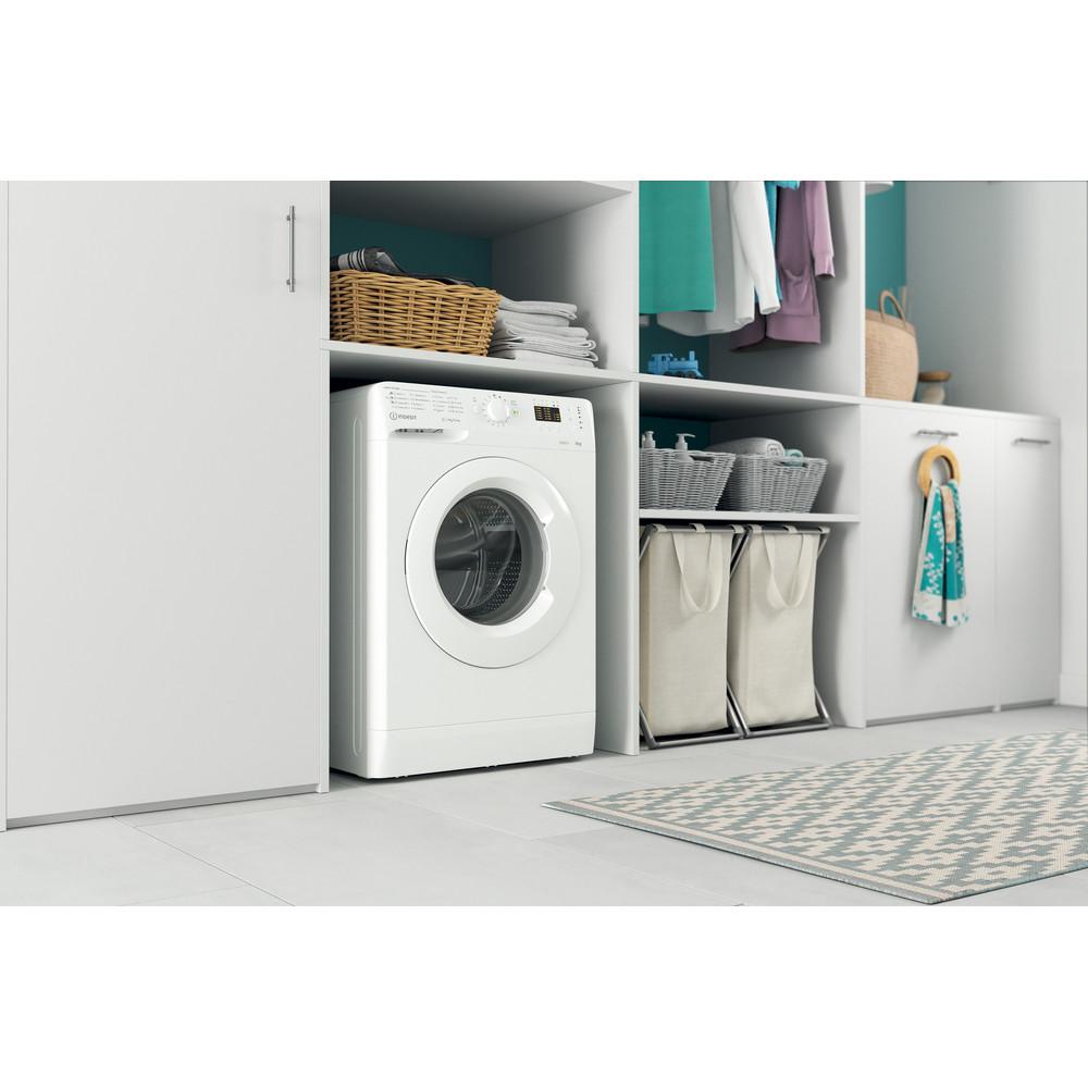 """""""Indesit"""" Skalbimo mašina Laisvai pastatoma MTWSA 51051 W EE Balta Pakraunama iš priekio F Lifestyle perspective"""