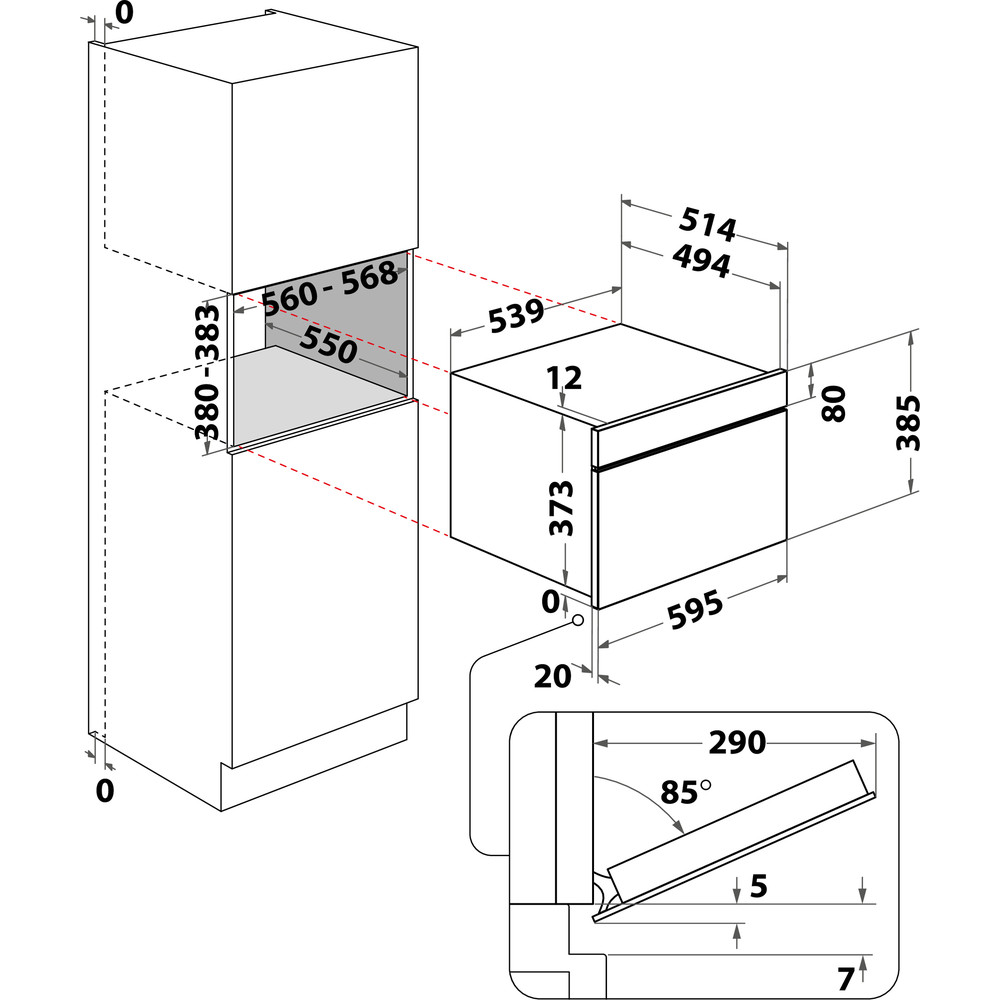 Indesit Mikrovågsugn Inbyggda MWI 3343 IX Inox Elektronisk 31 MW+grillfunktion 1000 Technical drawing