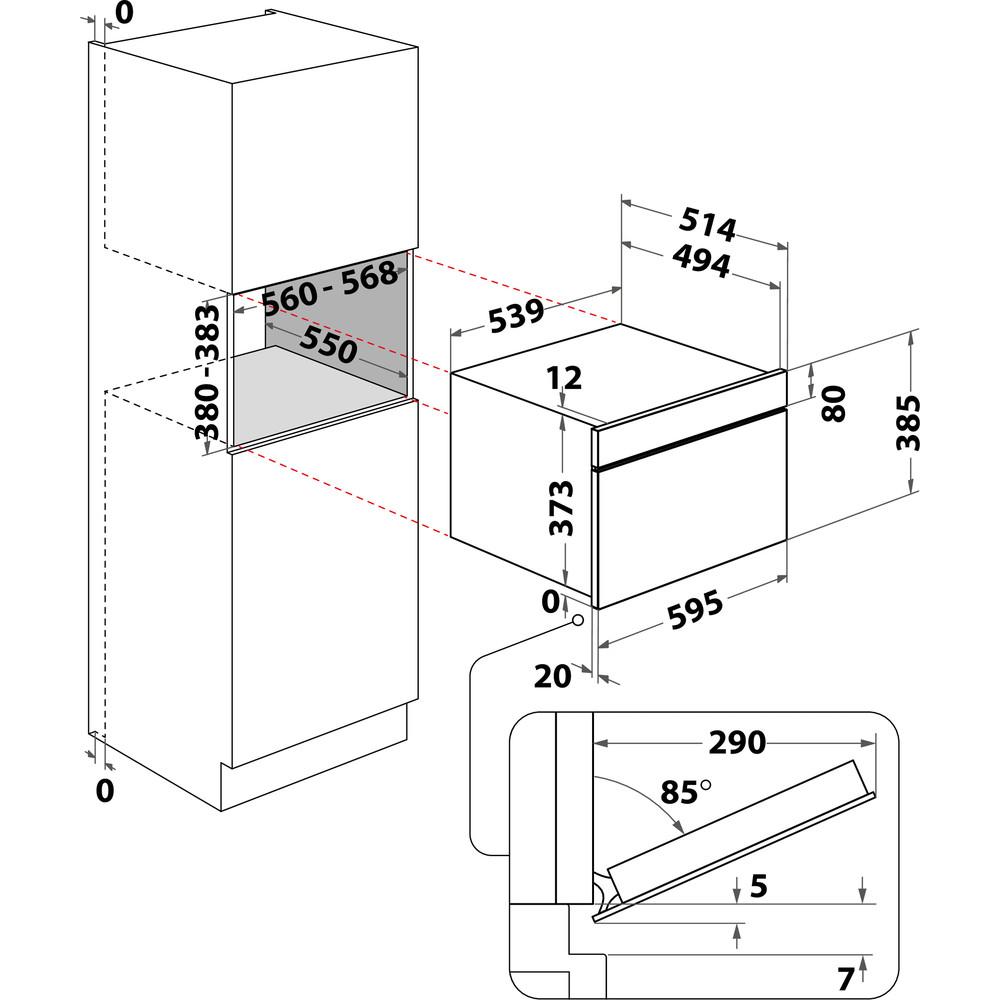 Indesit Mikroaaltouuni Kalusteisiin sijoitettava MWI 3343 IX Inox Sähköinen 31 MW + grillitoiminto 1000 Technical drawing