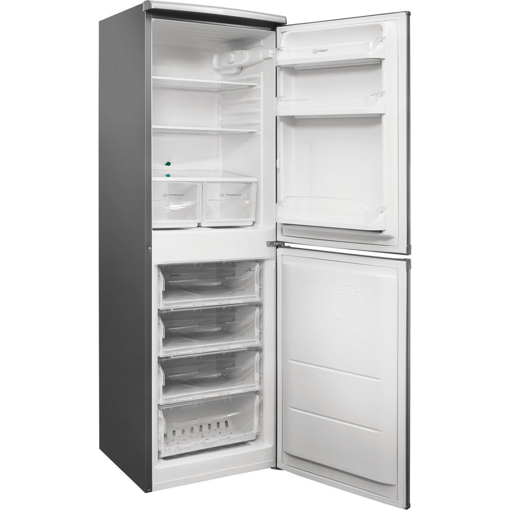 Indesit Combinación de frigorífico / congelador Libre instalación CAA 55 NX 1 Inox 2 doors Perspective open