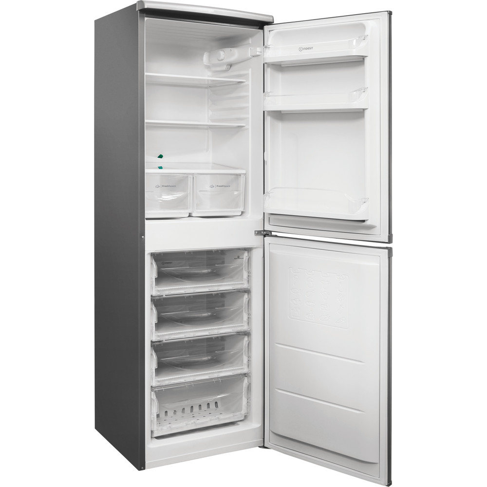 Indesit Combiné réfrigérateur congélateur Pose-libre CAA 55 NX 1 Inox 2 portes Perspective open