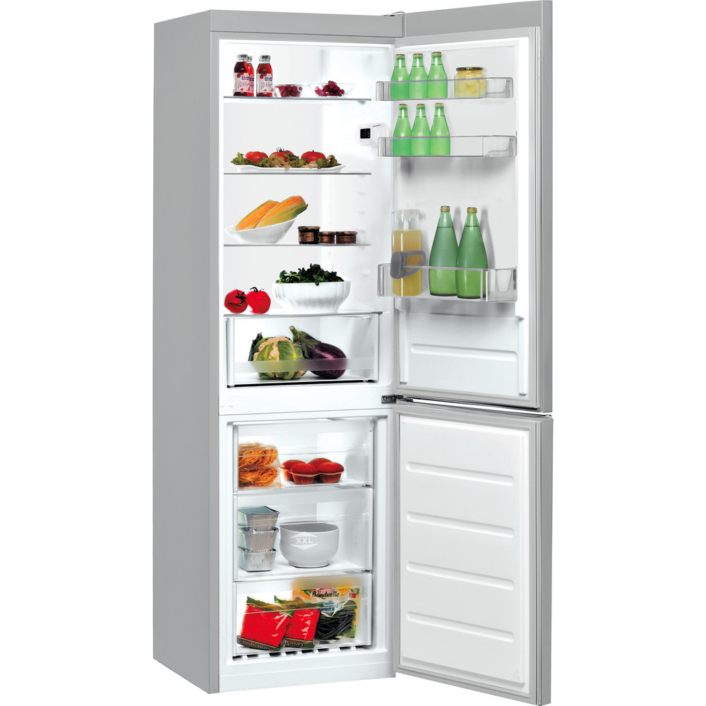 Indesit Kombinerat kylskåp/frys Fristående LI8 S1E S Silver 2 doors Perspective open