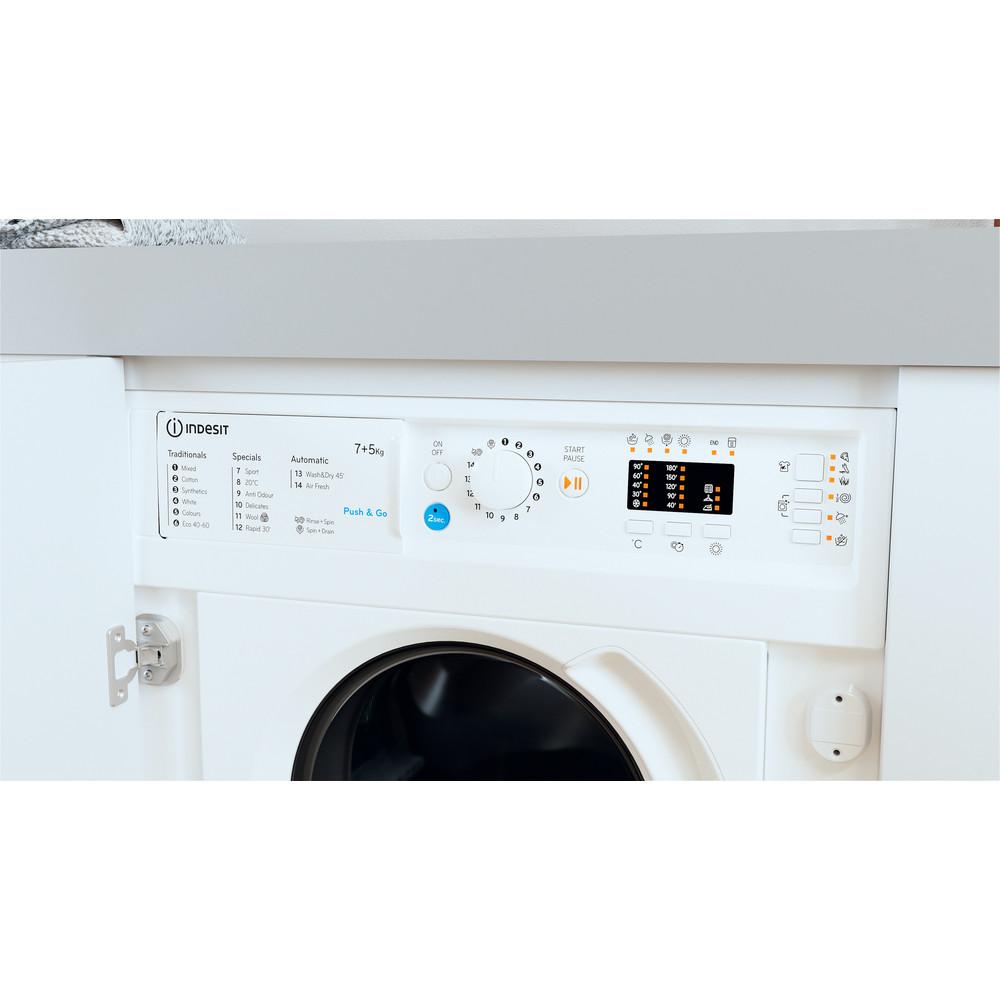 Indesit Washer dryer Built-in BI WDIL 75125 UK N White Front loader Lifestyle control panel