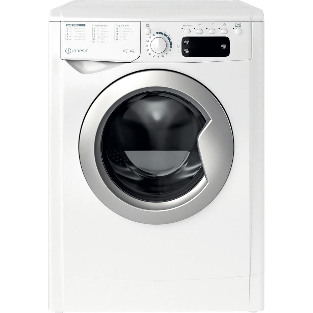 Indesit Kombineret vaskemaskine/tørretumbler Fritstående EWDE 761483 WS EE N Hvid Frontbetjent Frontal