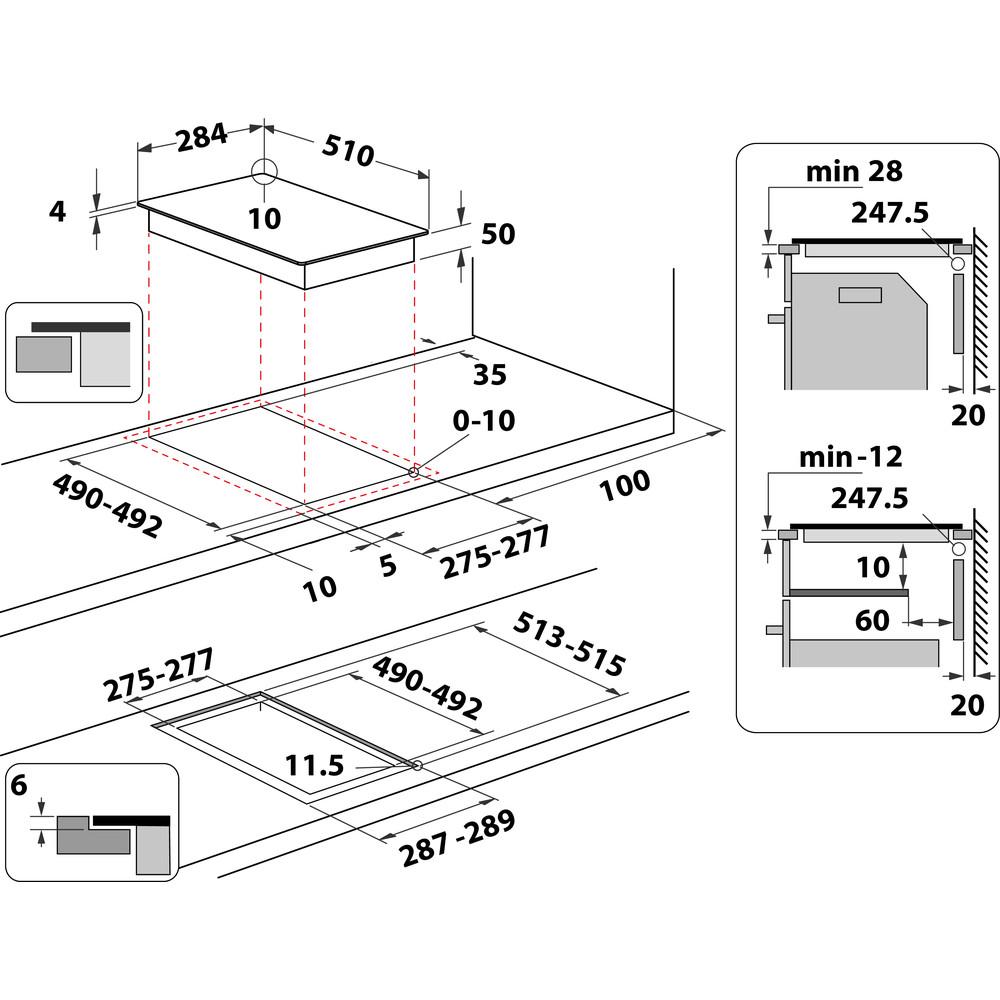 Indesit HOB IS 19Q30 NE Black Induction vitroceramic Technical drawing