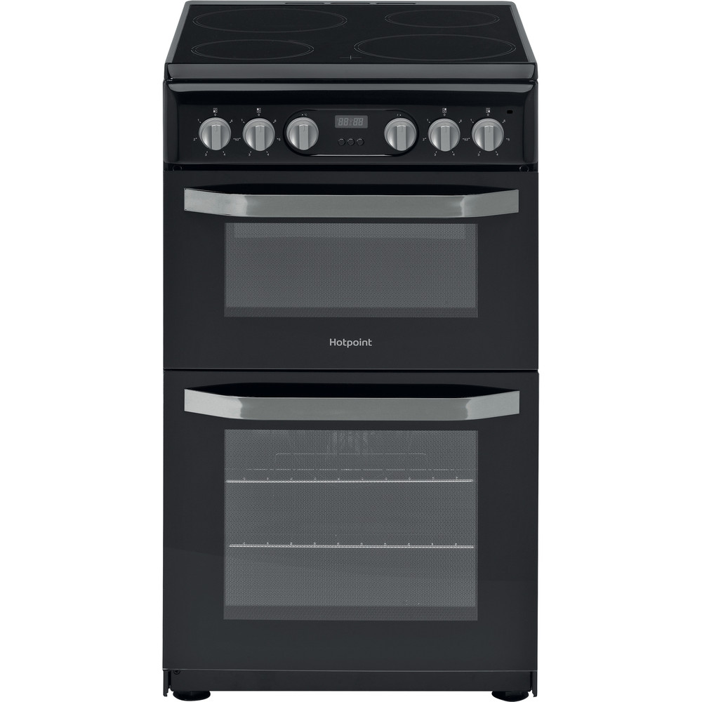 Hotpoint Double Cooker HD5V93CCB/UK White A Enamelled Sheetmetal Frontal