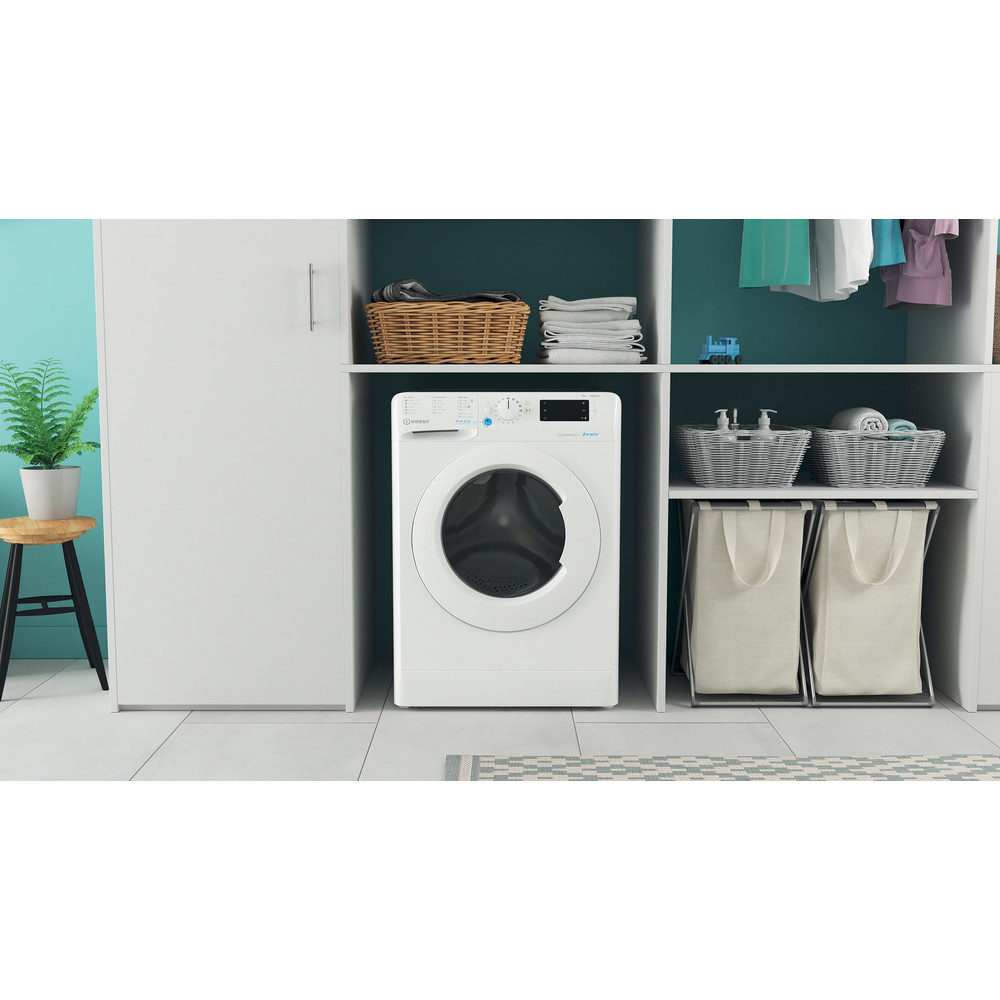 Indesit Washing machine Free-standing BWE 101683X W UK N White Front loader D Lifestyle frontal