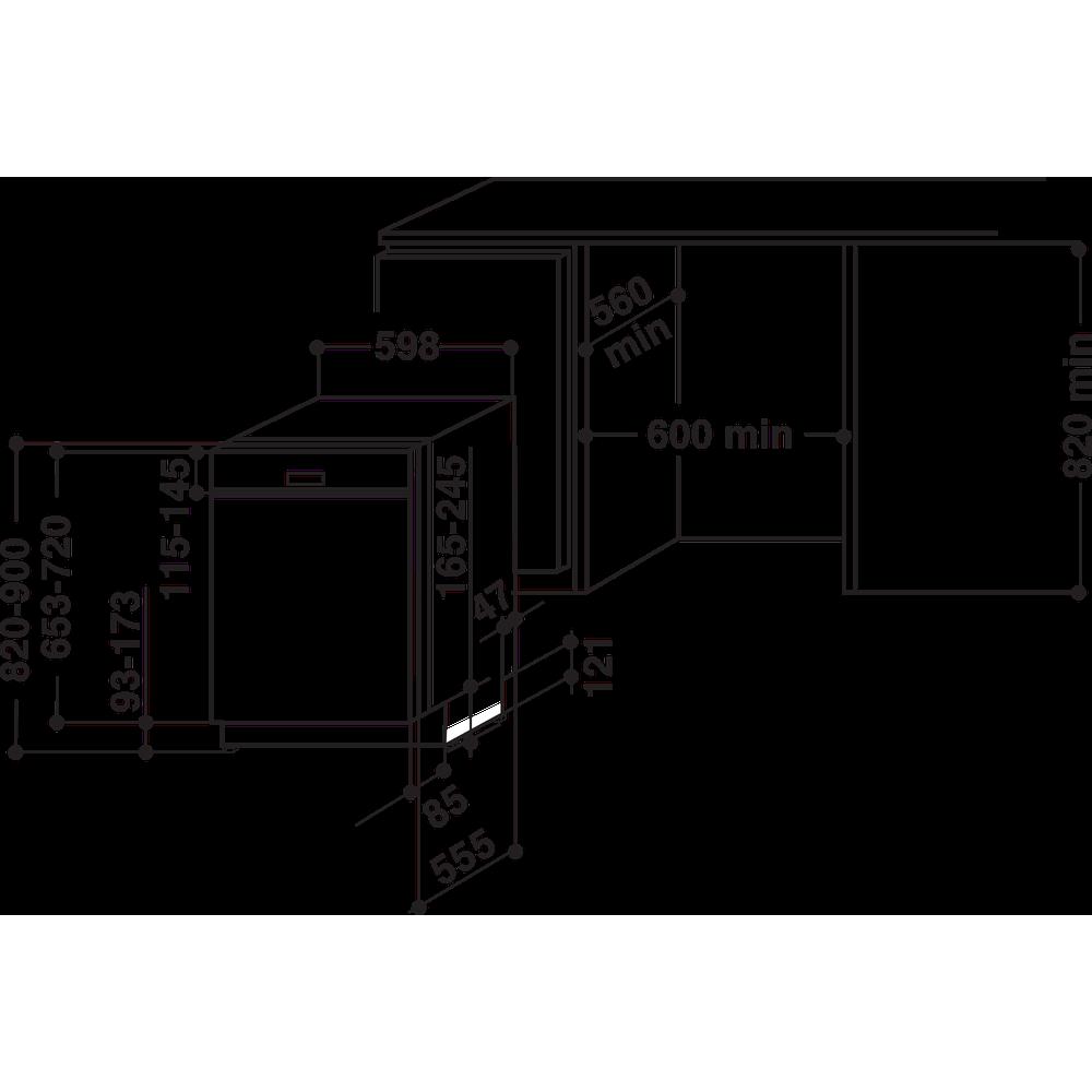 Indesit Vaatwasser Inbouw DBE 2B19 A X Geïntegreerd F Technical drawing