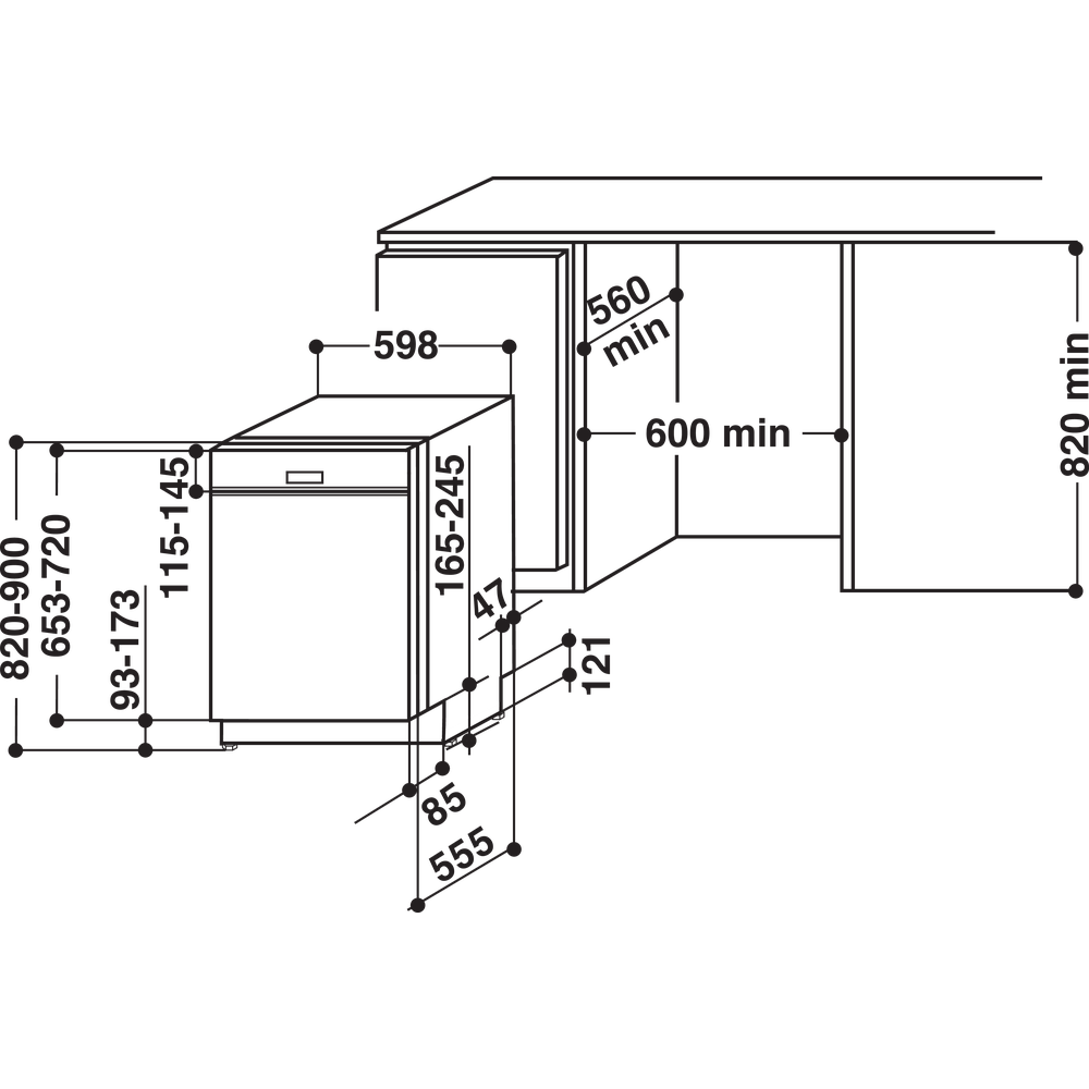 Indesit Dishwasher Built-in DBE 2B19 UK Half-integrated F Technical drawing
