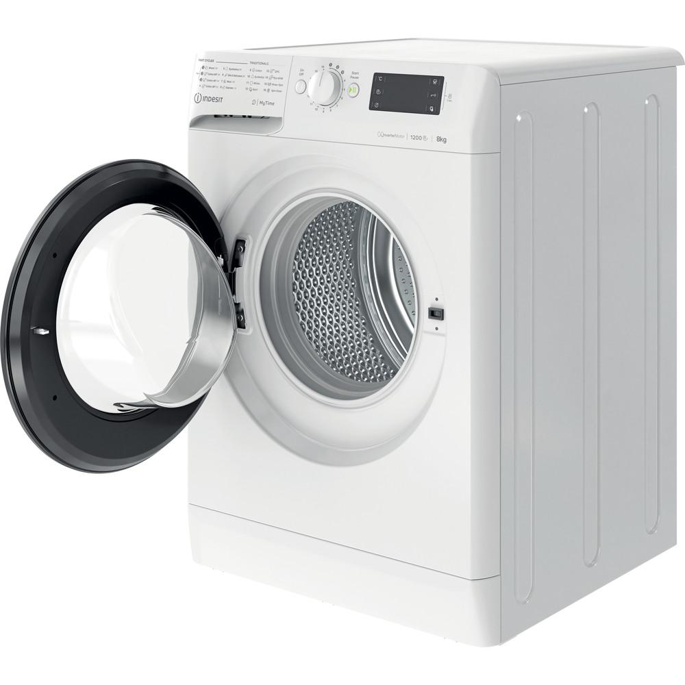 Indsit Maşină de spălat rufe Independent MTWE 81283 WK EE Alb Încărcare frontală D Perspective open