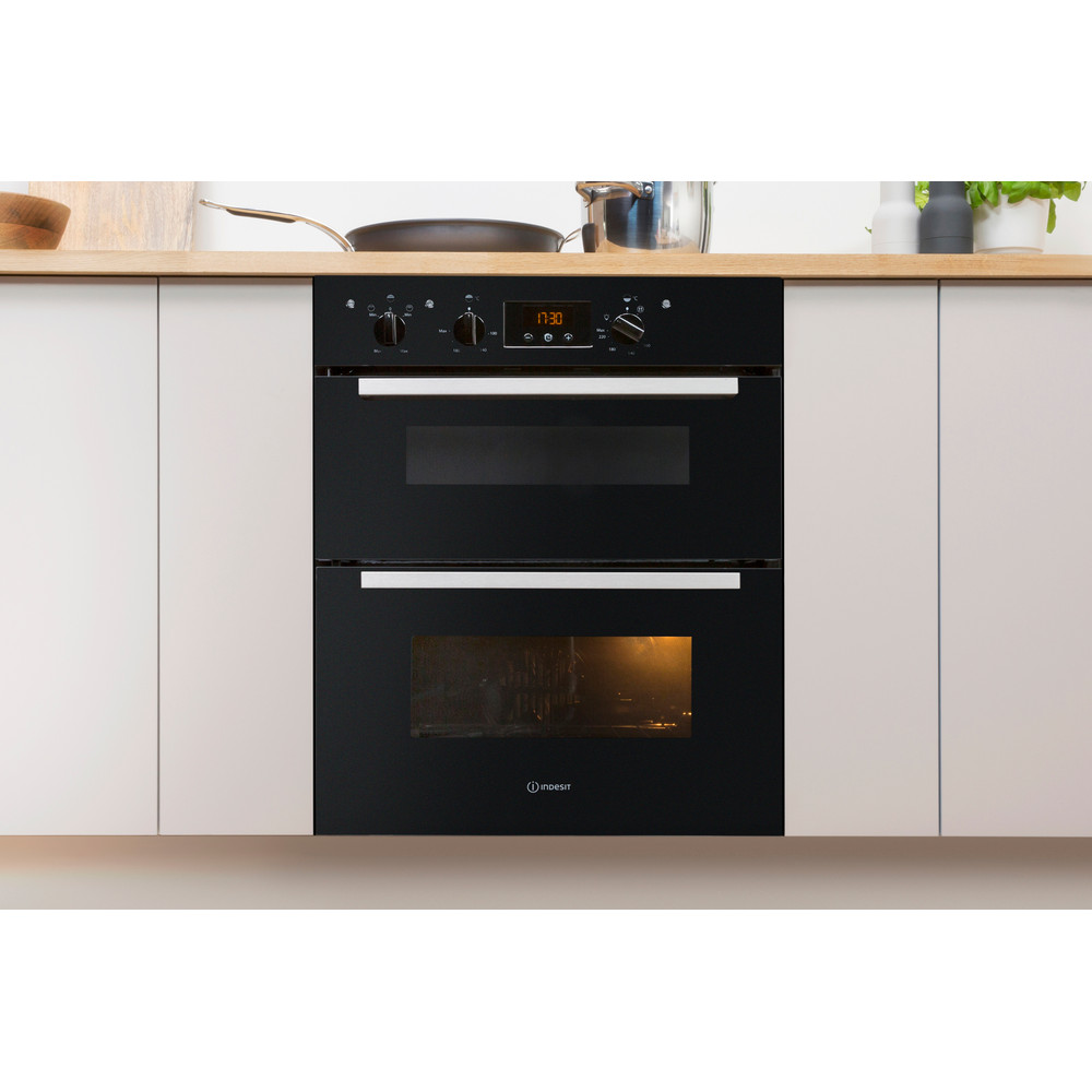 Indesit Double oven IDU 6340 BL Black B Lifestyle frontal