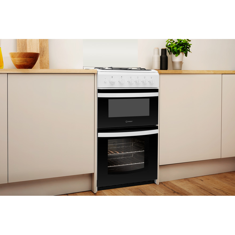 Indesit Double Cooker ID5G00KMW/UK /L White A+ Enamelled Sheetmetal Lifestyle perspective