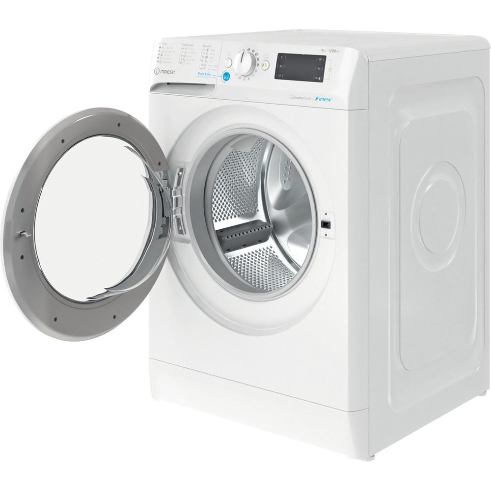 Indesit Πλυντήριο ρούχων Ελεύθερο BWE 81284X W EE N Λευκό Front loader C Perspective open