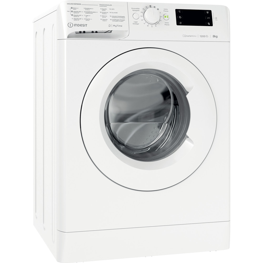 Indesit Máquina de lavar roupa Livre Instalação MTWE 81283 W SPT Branco Carga Frontal D Perspective