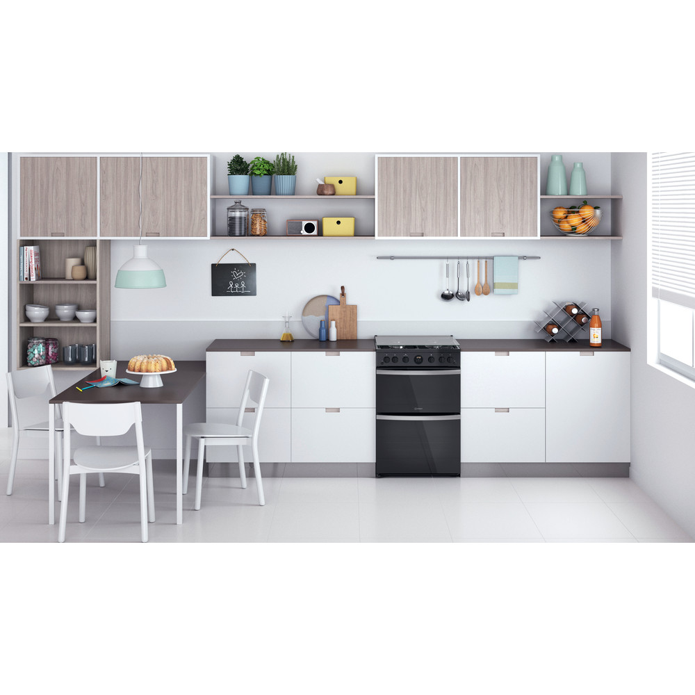 Indesit Double Cooker ID67G0MCB/UK Black A+ Lifestyle frontal
