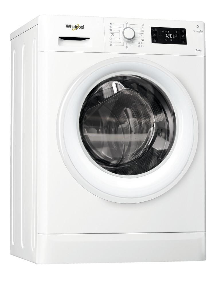 Whirlpool Kuivaava pesukone Vapaasti sijoitettava FWDG86148W EU Valkoinen Edestä täytettävä Perspective