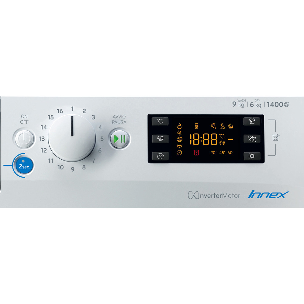 Indesit Lavasciugabiancheria A libera installazione BDE 961483X WK IT N Bianco Carica frontale Control panel