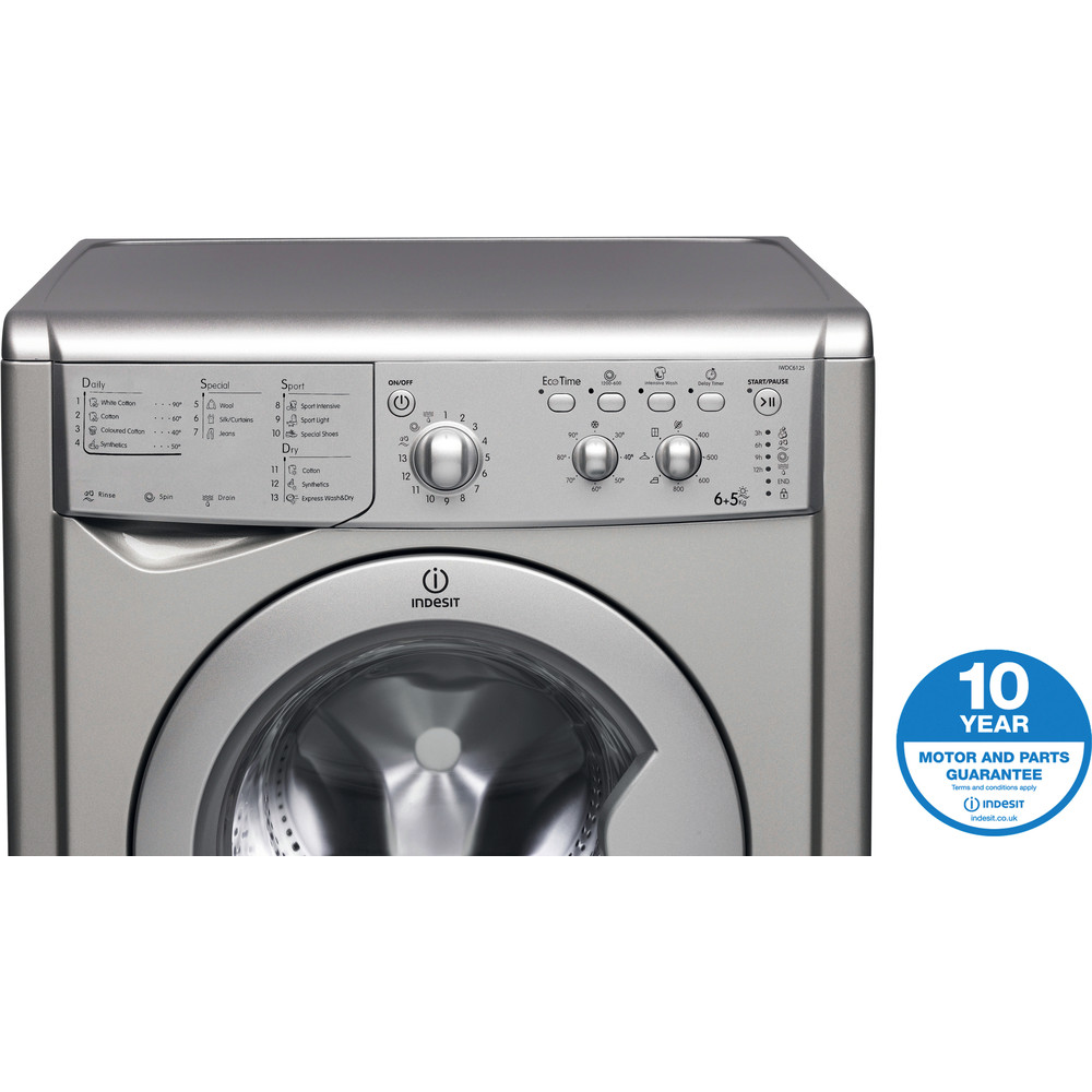 Indesit Washer dryer Free-standing IWDC 6125 S (UK) Silver Front loader Award